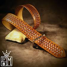 tan leather belt brown tooled basket weave with waved border polished nickel buckle 1 3 4 wide handmade in usa