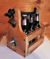 custom made rustic wood beer caddy with bottle opener and magnetic cap catch personalized split