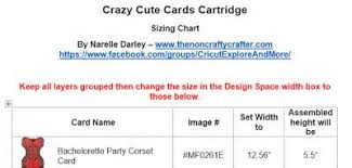 Cartridge Length Chart The Non Crafty Crafter Crazy Cute Cards Cartridge Sizing