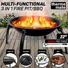 3 in 1 round portable outdoor fire pit bbq by thermomate