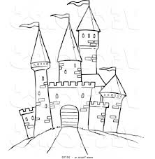 Coloring Page Marvelous Easy To Draw Castle Simple Drawing Free