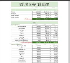 Household Monthly Budget Spreadsheet Budget Calculator Monthly Spending Tracker