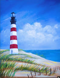 from uptown art i like the lighthouse and the fence the shape of the