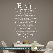 wall art ideas design family recipe kitchen vinyl wall art decorations quotes brown simple interior stickers white text letters best kitchen vinyl wall