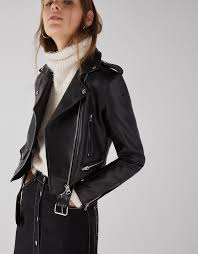 bershka faux leather biker jacket