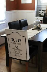 dining table chair covers. DIY Halloween Themed Gravestone Dining Room Chair Covers! Table Covers O