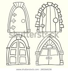 set of old door icon hand drawn vector ilration