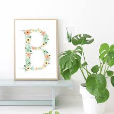 floral monogram nursery letter b art print art print painting poster wall pictures on wall art letter b with floral monogram nursery letter b art print art print painting