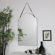 arched frameless wall mirror 40cm x