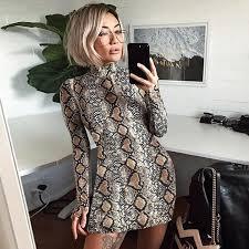 <b>Women Sexy Snake</b> Print Dress <b>Summer</b> Pullovers Sheath Long ...