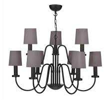 black chandelier with charcoal silk shades