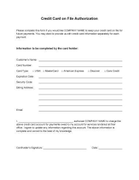 Credit Card On File Form Templates Credit Card Authorization Forms ...