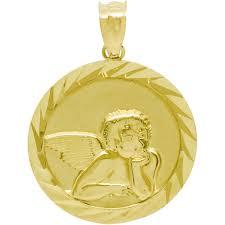 14k yellow gold guardian angel medallion charm