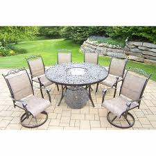 oakland living cascade 8 piece round patio set with 2 swivel rockers 4 stackable chairs and ice bucket in coffee