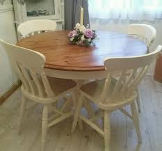 shabby chic solid pine round extendable table and 4 solid beech chairs refurbished