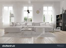 White Living Room Furniture For Modern Spacious Lounge Living Room Interior Stock Illustration