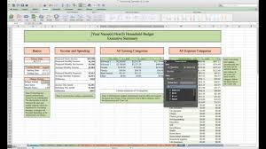 finances excel template household budget and finances template and tutorial excel youtube
