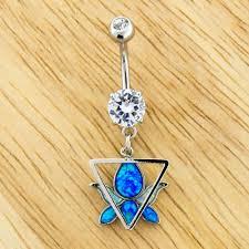 Opal Lotus Navel Ring