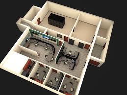 3d birds eye view of floor plan layout