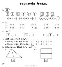 Giải vở bài tập Toán lớp 1 tập 1 Bài 24: Luyện tập chung