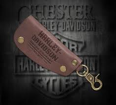 harley davidson men s snap hook brown leather key fob 97707 18vm
