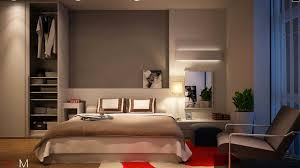 modern minimalist bedroom walk in closet design with gray built in wall closet plus white platform built in night stand frame bed and brown modern chair and