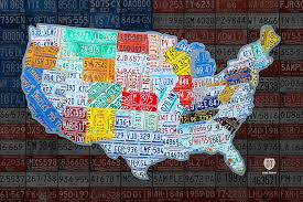 map of the united states in vintage license plates on american flag design turnpike on license plate usa map print on license plate map wall art with map of the united states in vintage license plates on american flag