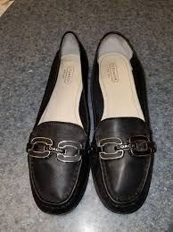 coach black leather loafers size 8