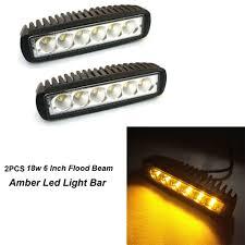Amber Led Offroad Lights 18w 6 Inch Flood Beam Amber Led Fog Light Bar Lighting