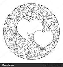 Mehndi Květ Kulatý Vzor Srdce Pro Kreslení Hennou Tetování Dekorace