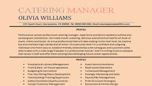 Catering Manager Resume Sample Impressive Catering Resume