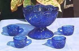 miniature cobalt blue depression glass punch bowl cup set new