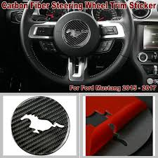 details about carbon fiber interior steering wheel trim sticker cover for ford mustang 15 17