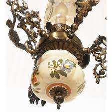 art nouveau chandelier in gilt bronze hand painted bassano ceramic and murano glass engraved