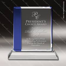 Employee Of The Month Trophy Crystal Blue Accented Square Trophy Award Employee Trophy Awards