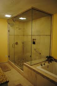 drop in tub with shower tile floor tub surround and shower with glass deco tile white