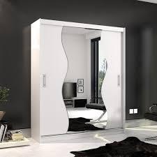 Mirjan24 Schwebetürenschrank Kola X 180 Kleiderschrank Mit Spiegel Und Schiebetüren Stilvoll Garderobenschrank Ohne Beleuchtung Farbe Weiß