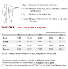 Sizing Chart Asian Fit Womens Montbell America