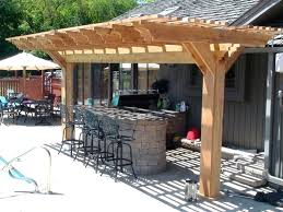 full size of stylish wooden pergola for small outdoor kitchen designs plans with black wrought iron