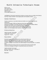 Health Information Management Resume Cover Letter Medical Records