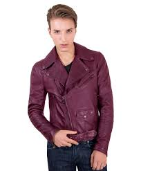chiodo biker red purple perfecto lamb belted leather biker jacket