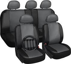 Amazon.com: OxGord 17pc Faux Leather Gray/ Black Car Seat Covers ...