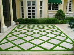 Simple Patio Pavers With Grass In Between Landscaping Synthetic Greens More And Design