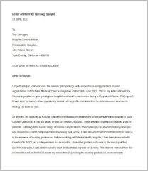 Sample Letter of Intent for Nursing Job