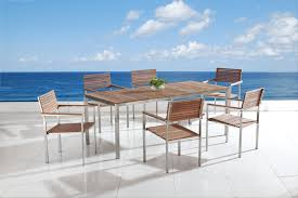 Stainless Steel Outdoor Dining Table Beliani Garden Furniture Dining Table 200x90 6 Chairs Teak