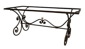 pied de table fer forgé, piètement en fer forgé, empiètement fer forgé
