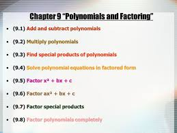 2 chapter 9 polynomials and factoring