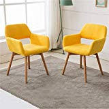 Yellow dining room chairs Eames Lansen Furniture set Of 2 Modern Living Dining Room Accent Arm Chairs Club Guest Ideal Home Amazoncom Yellow Chairs Kitchen Dining Room Furniture Home