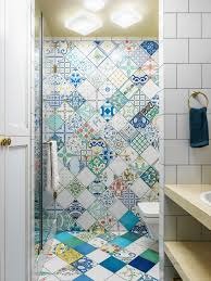 design ideas for a bohemian shower room in moscow with open cabinets an alcove shower