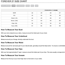 Forever 21 Jeans Size Chart Best Picture Of Chart Anyimage Org